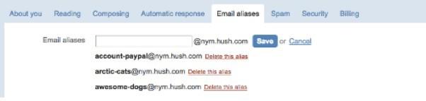 Hushmail aliases