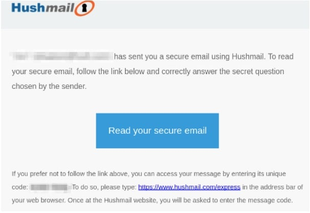 Hushmail encrypted email notification