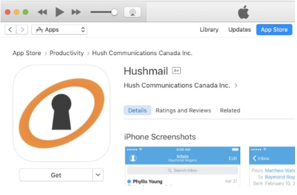 Hushmail iOS app