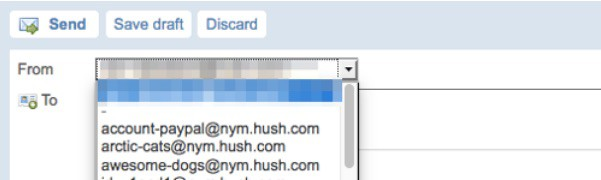 Hushmail send from email alias