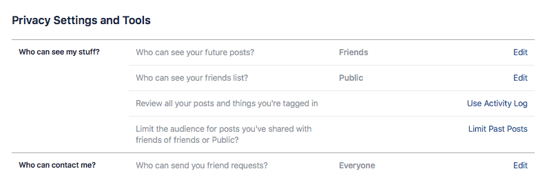 facebook edit privacy