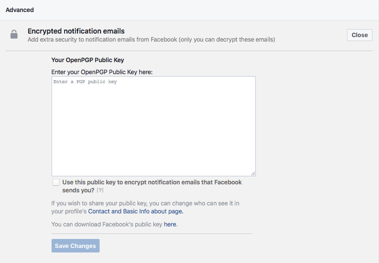 facebook email encryption