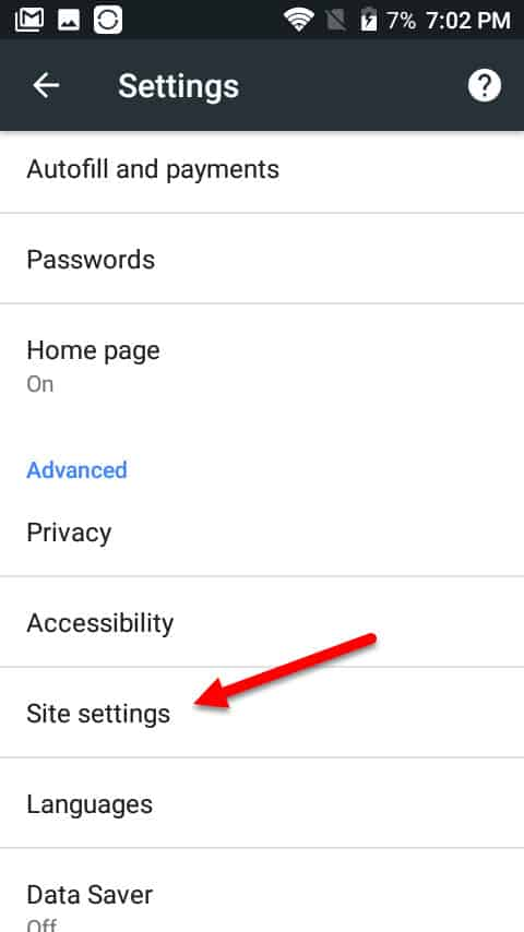 android site settings clear
