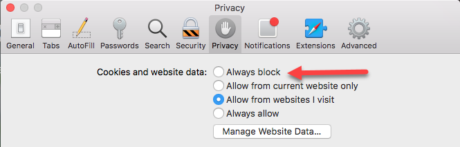 safari cookies always block