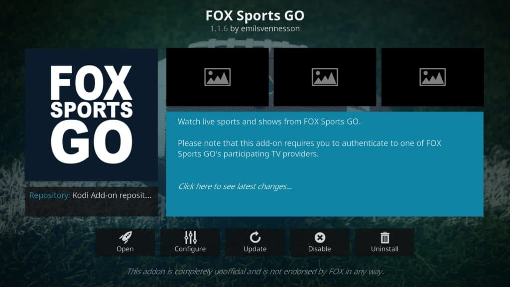 Fox Sports Go addon