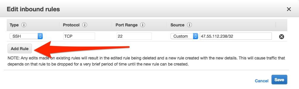 EC2 add security group rule button