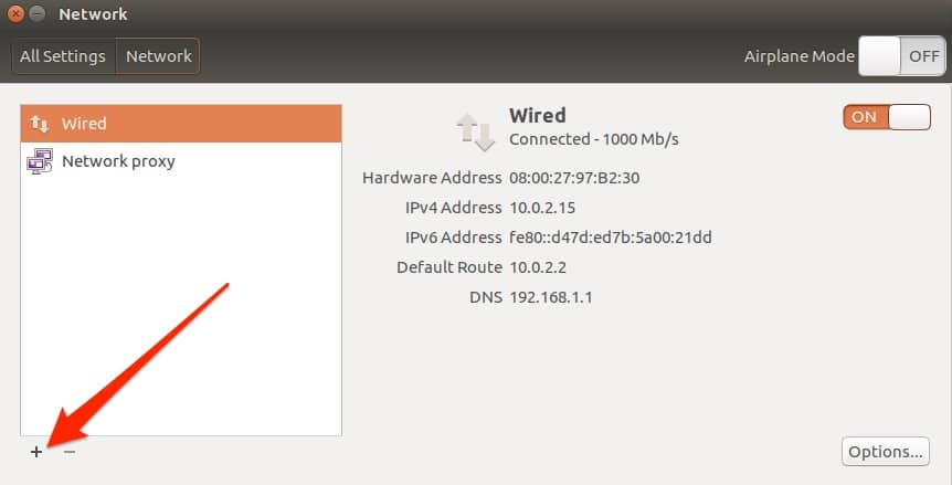 Ubuntu add network connection