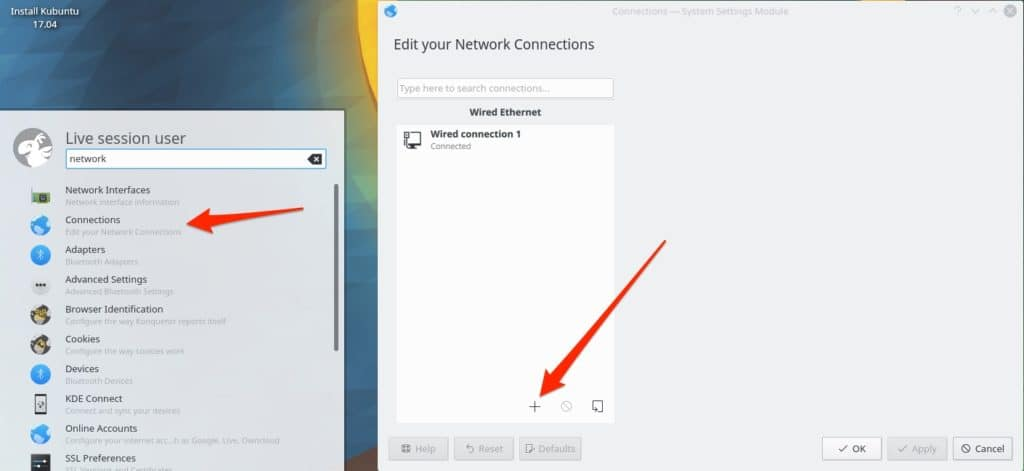 Kubuntu network connection