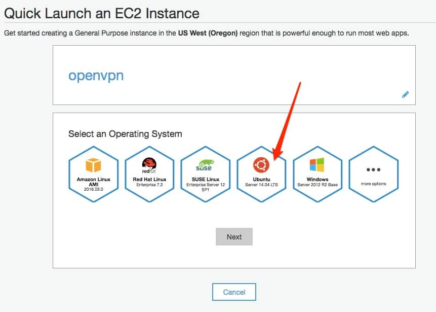 Quick Launch an EC2 Instance- os