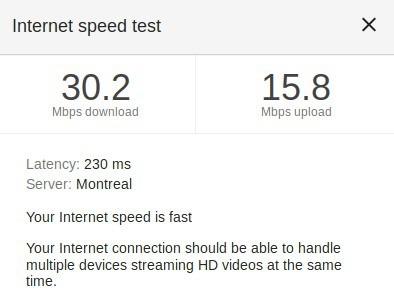 Speed test VPN not active