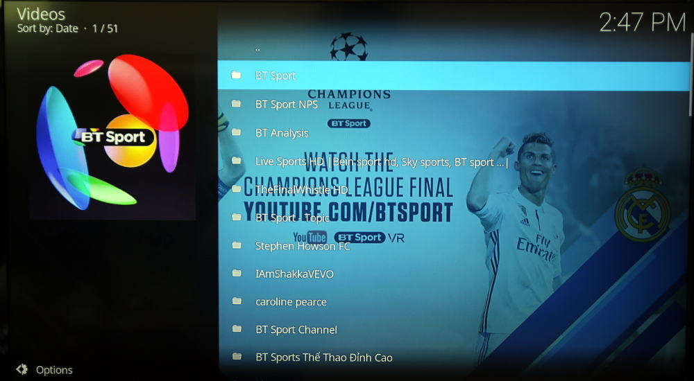 bt sport youtube kodi