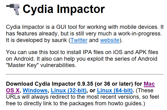 The Cydia Impactor homepage.
