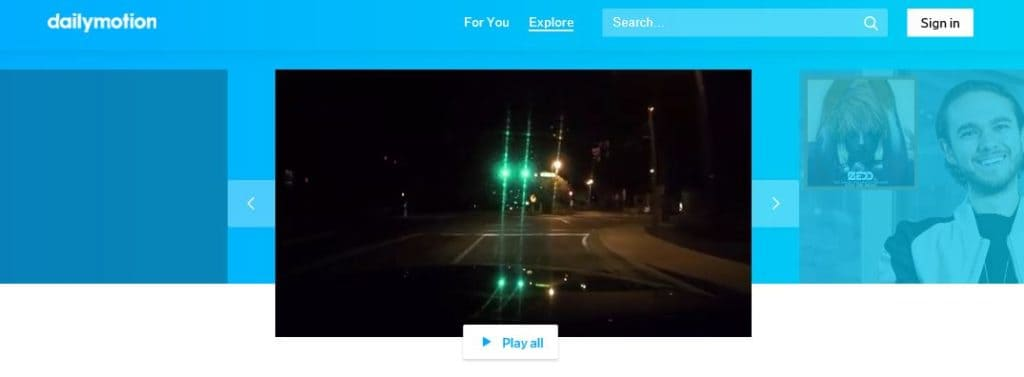Dailymotion homepage.