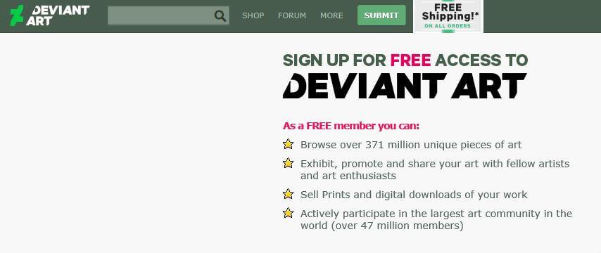 deviantart homepage.