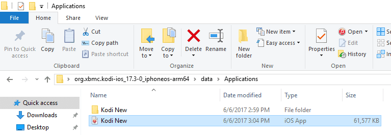"The ""Applications"" folder with the ""Kodi New"" IPA file"