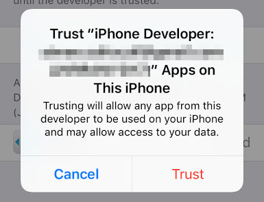 A trust confirmation popup.