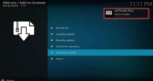 USTVNow kodi installed