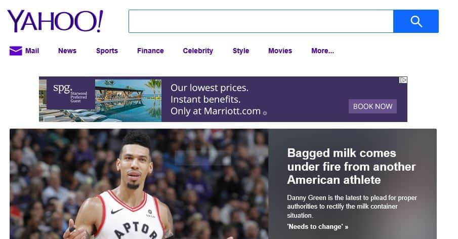 Yahoo homepage.