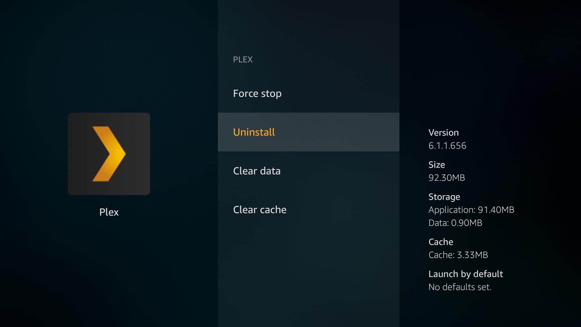 Fire TV Plex App - Uninstall 6