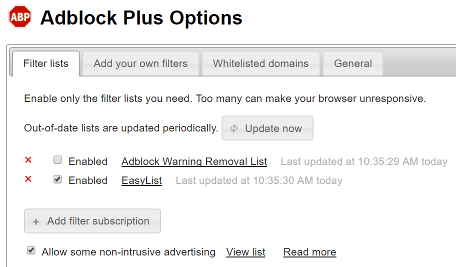 The Adblock Plus interface.