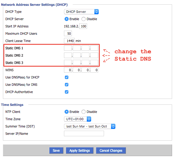 Network Address Server Settings (DHCP)
