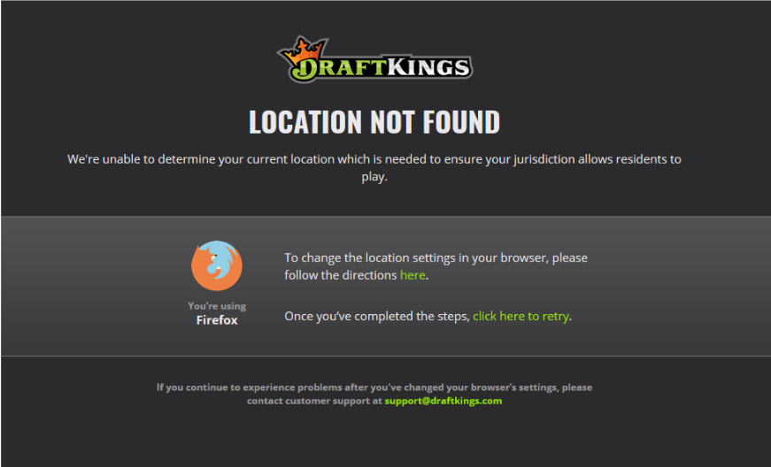 draftkings vpn location