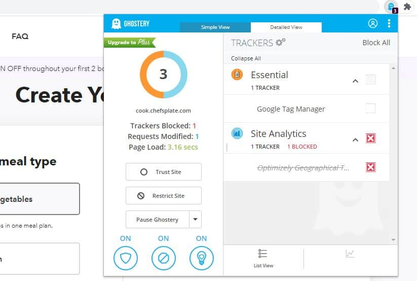 Ghostery Detailed View.