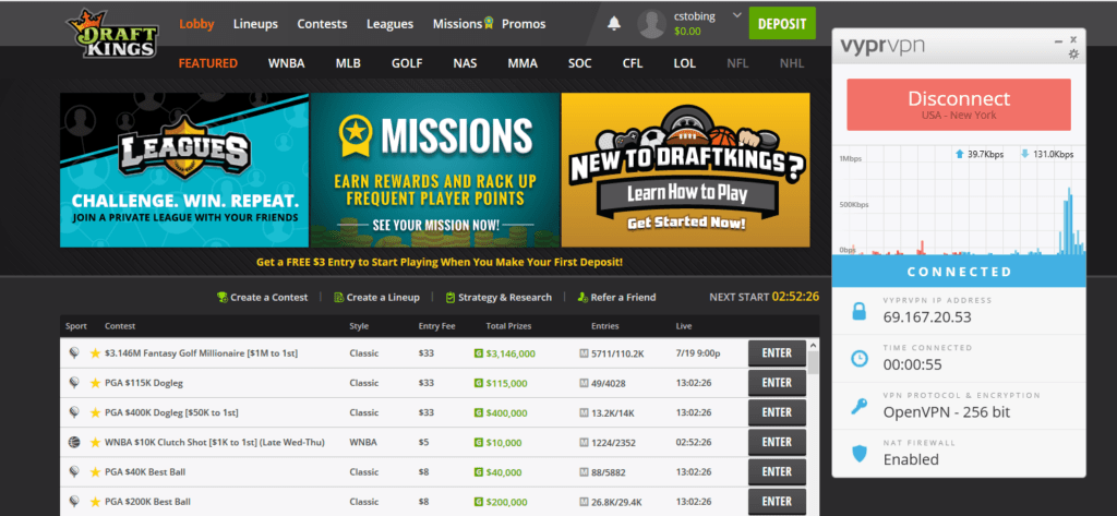 draftkings unblock vpn