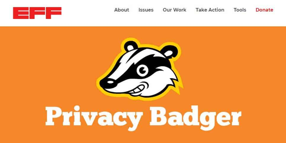 Privacy Badger homepage.