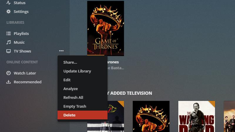 Plex Server - Remove Library 2