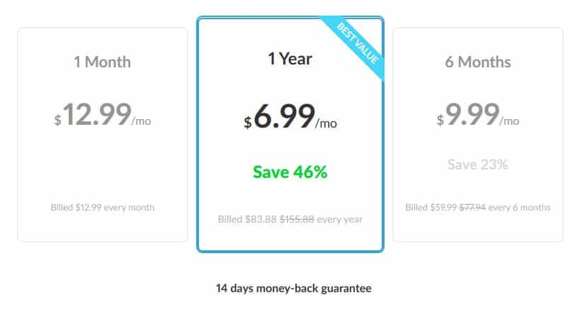 The Zenmate pricing table.