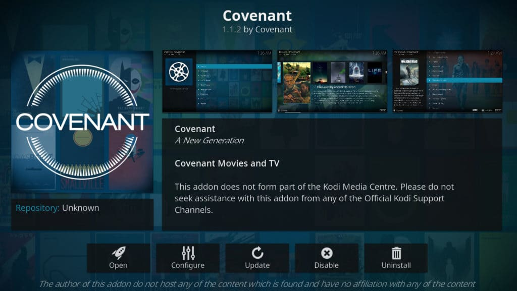 Kodi covenant add-on