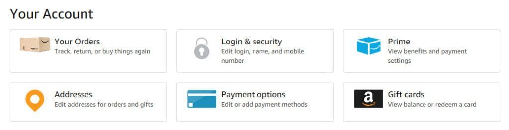 Amazon account details.