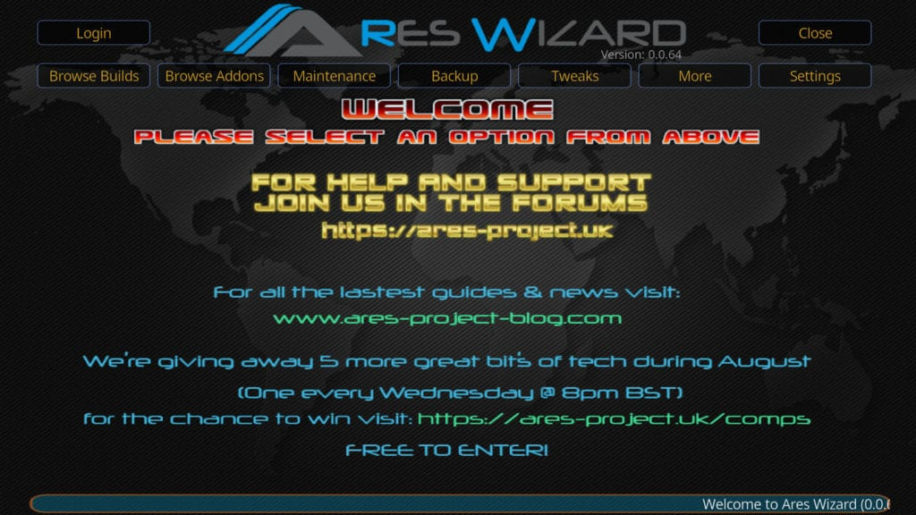 Ares Wizard welcome screen