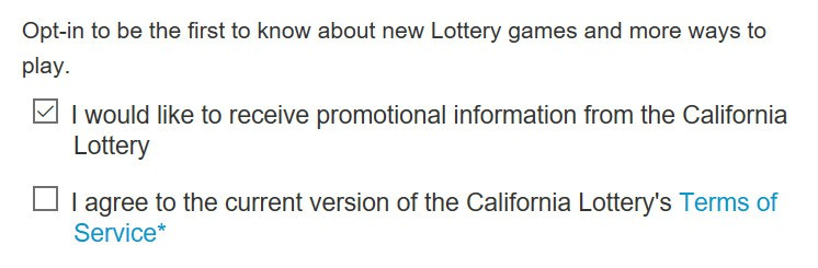 Lottery signup form.