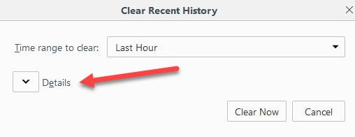 firefox details cache clear