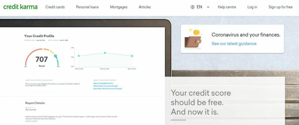 Credit Karma homepage.