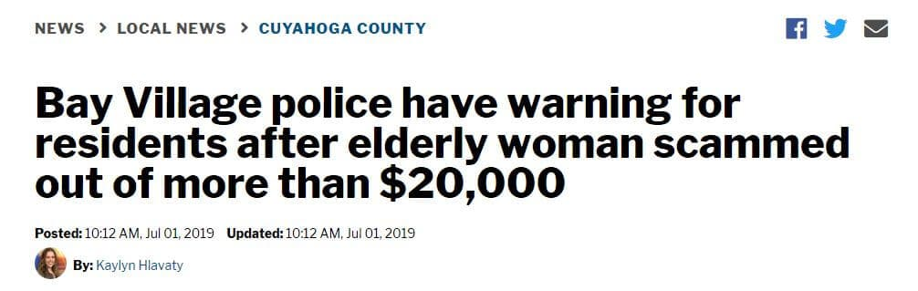 Headline of grandparent scam case.