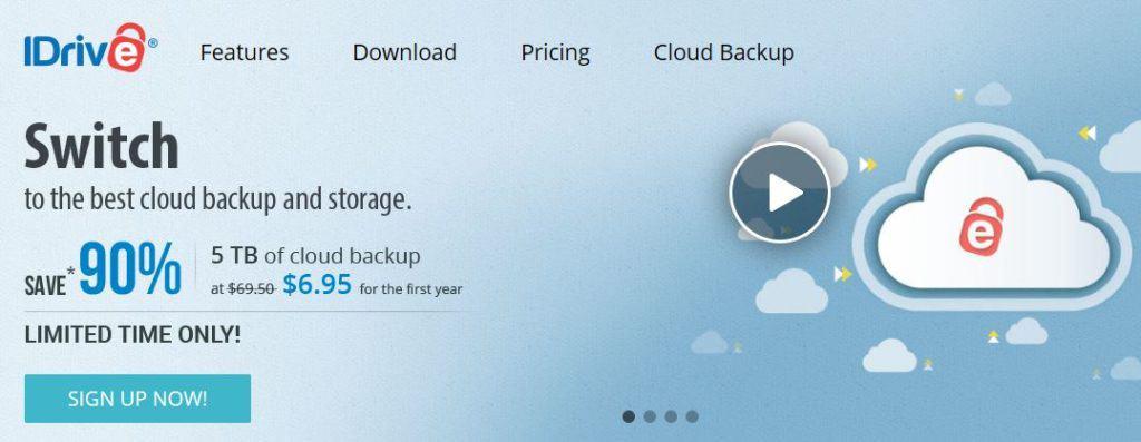 iDrive homepage.
