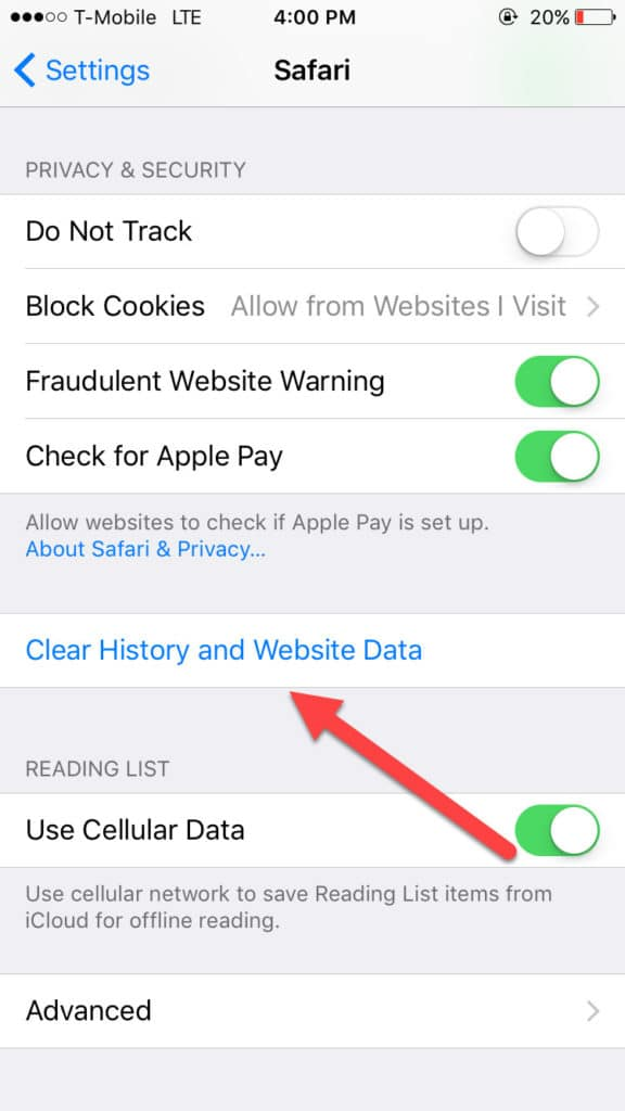 clear website data ios cache clear
