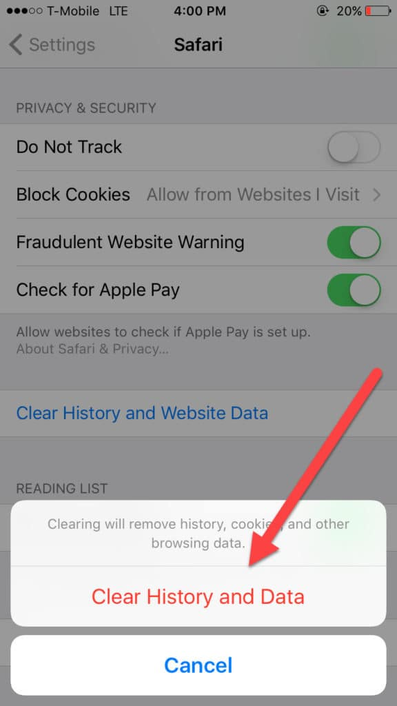 clear ios cache browsing data