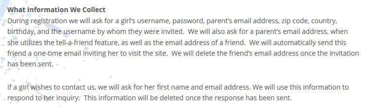 Part of the iTwixie privacy policy.