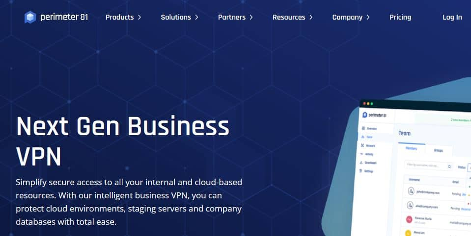 Perimeter 81 business VPN homepage.
