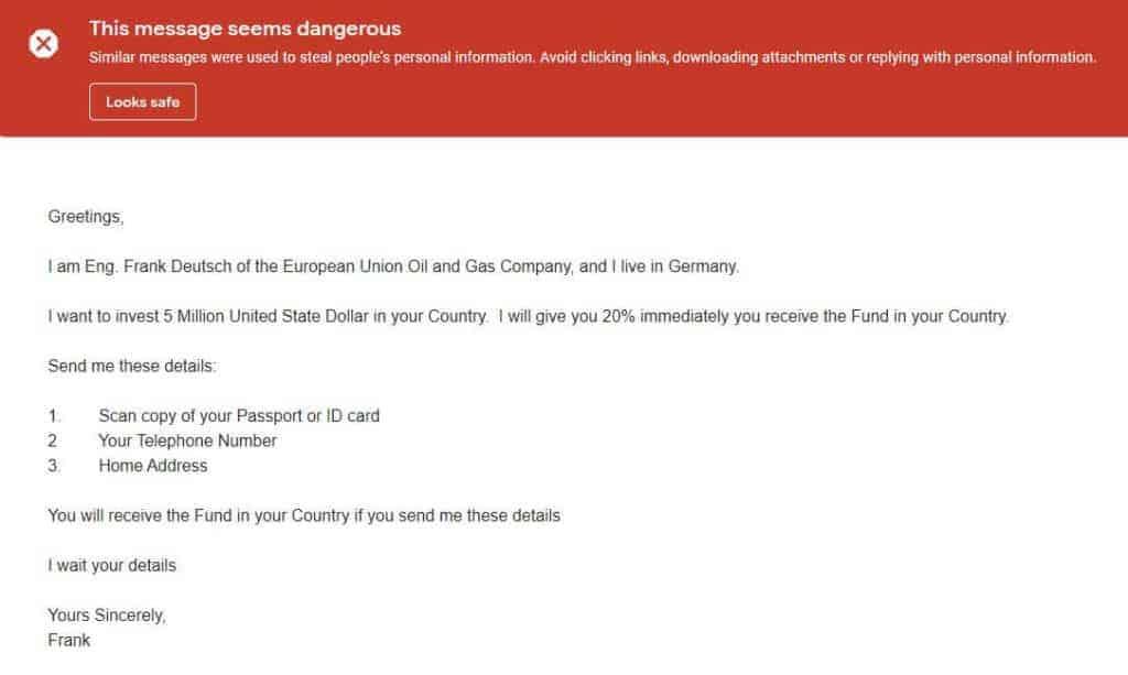 Phishing email.