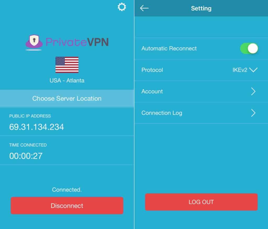 PrivateVPN mobile app.