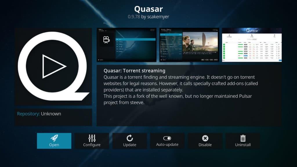 Kodi quasar addon