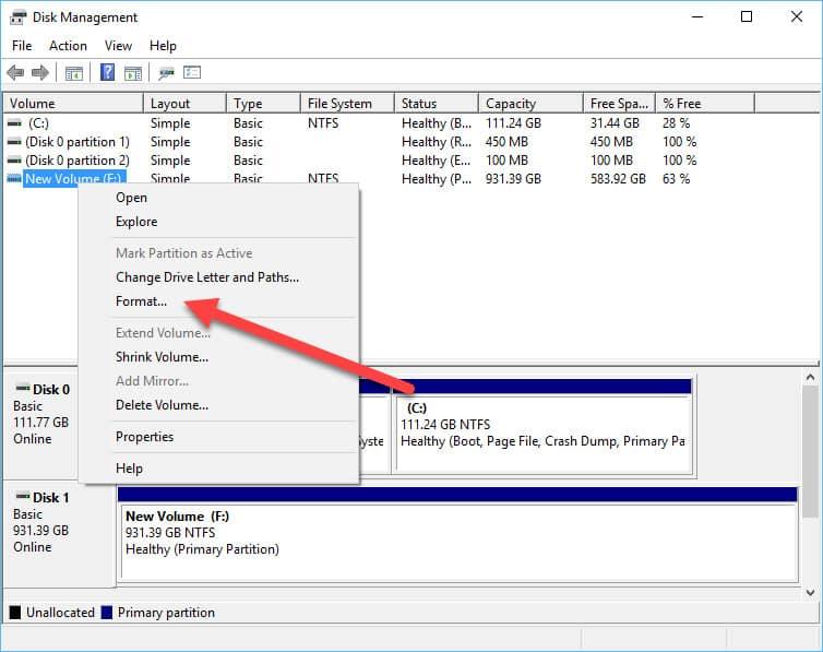 secure erase windows menu