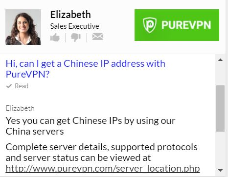 PureVPN Chinese IP address