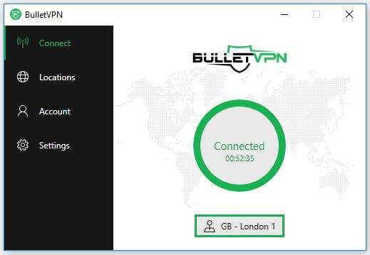 The BulletVPN connect screen.