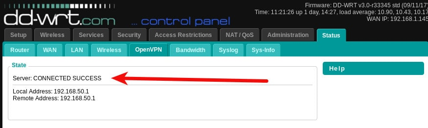 dd- wrt vpn openvpn server success